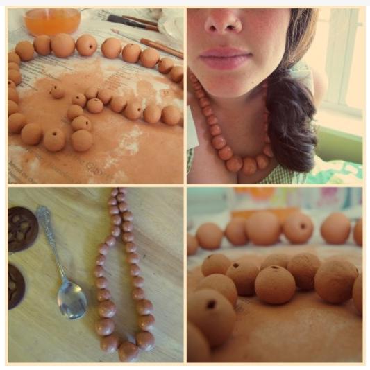 Handmade Clay Bead Necklace