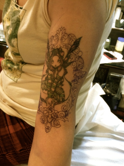 tattoo rococo frame with fairy
