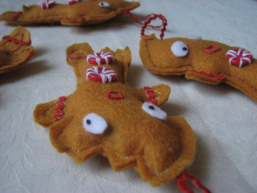 Gingerbread People Ornaments made from Recycled Plastic Bottle Felt